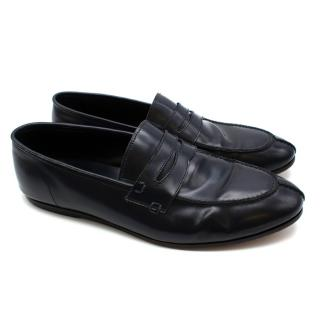 Balmain Navy Leather Mens Loafers