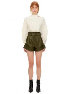 Self Portrait Olive Green Faux Leather Shorts