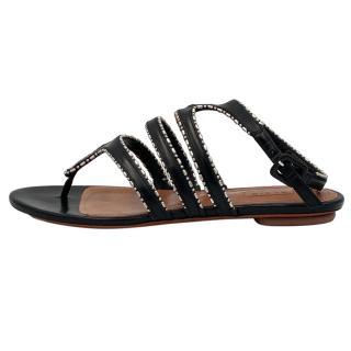 Alaia Black Flat Cut-Out Sandals