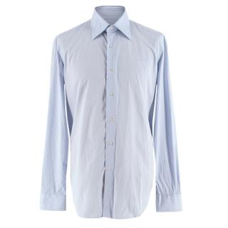 Valentino Blue Striped Cotton Long Sleeve Shirt