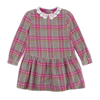 Bonpoint Pink Cotton Check Dress with Lace Collar
