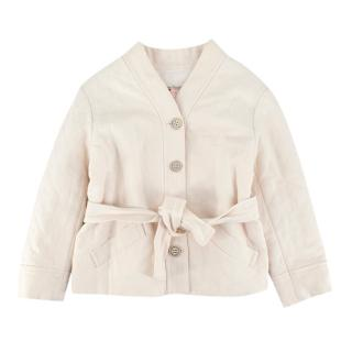 Bonpoint Ivory Linen Quilted Button-down Jacket with Belt