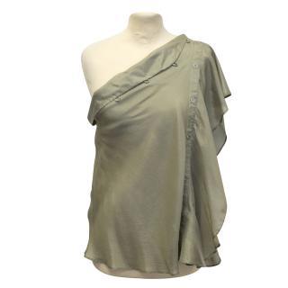 Hussein Chalayan khaki silk blouse