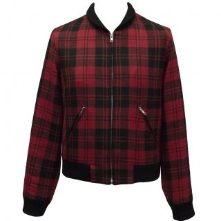 Agnes B Red Checkered Bomber Jacket