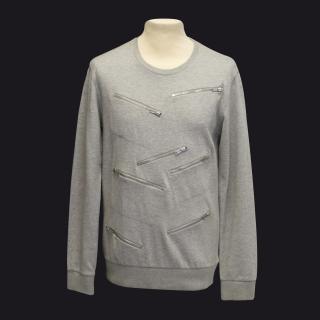 Marc by Marc Jacobs grey melange multiple zip sweater