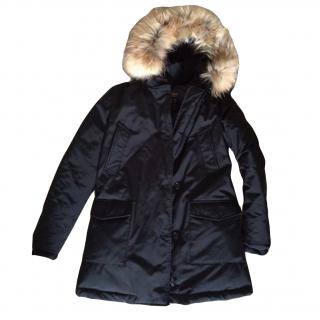 new Woolrich women's JOHN RICH & BROS. Artic fur trim black parka coat