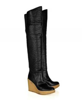 NEW Stella McCartney Black Faux Leather Crepe Sole Wedge Platform Boots