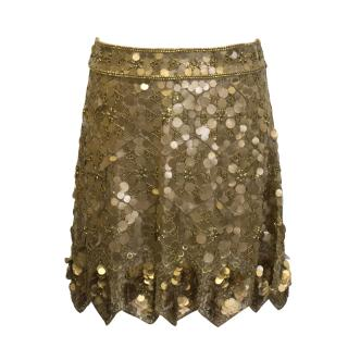 Matthew Williamson gold sequin skirt