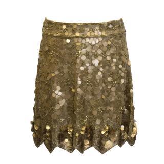 Matthew Williamson gold sequin skirt