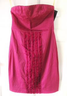 CATHERINE MALANDRINO Pink strapless pleated detail fitted dress UK 8 EU 36 US 4