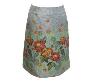 Matthew Williamson Floral Garden Poly-Blend Brocade A line Skirt - current season