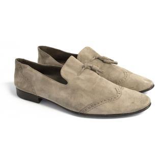 Yves Saint Laurent beige suede loafers