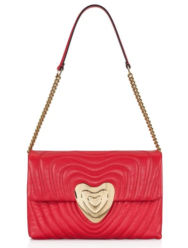 Escada Red Quilted Leather Large Heart Bag