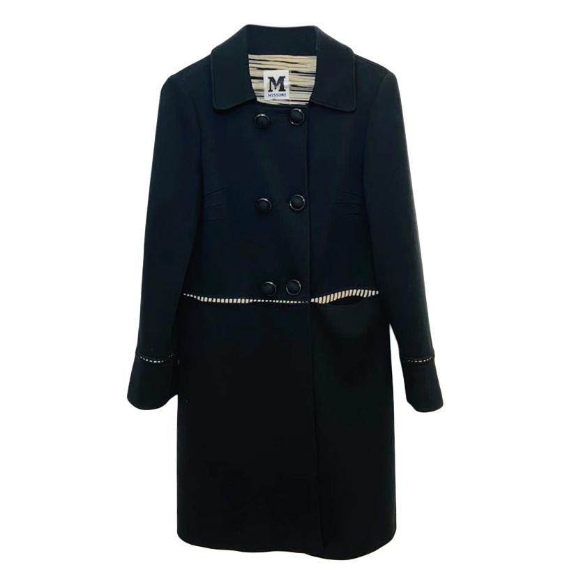 M Missoni Black Wool Blend Coat