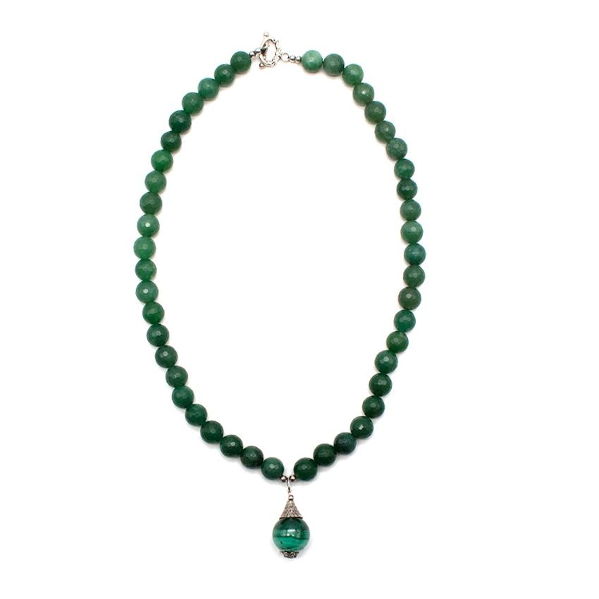 Bespoke Green Agate Pendant Beaded Necklace