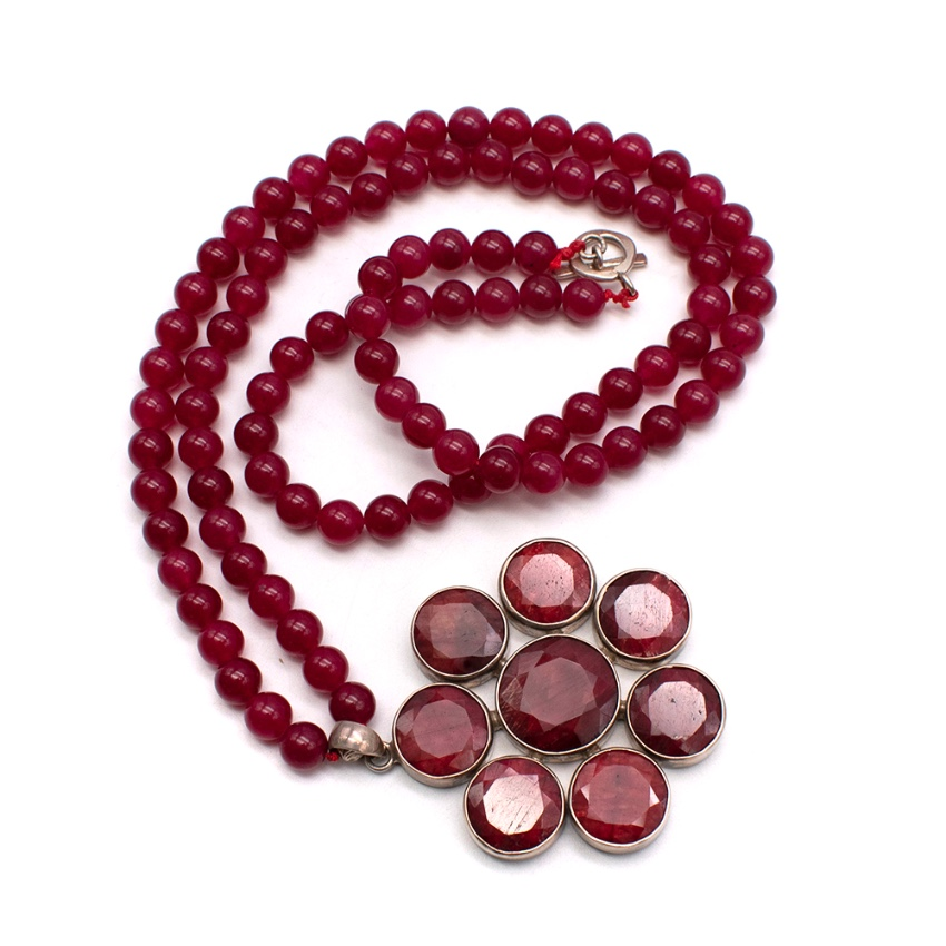 Bespoke Red Agate beaded necklace with a Silver Pendant