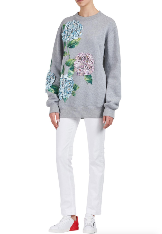Dolce & Gabbana Grey Cotton Hydrangea Applique Sweater