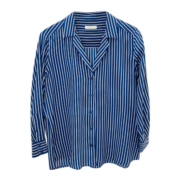 Equipment Blue & White Striped Blouse