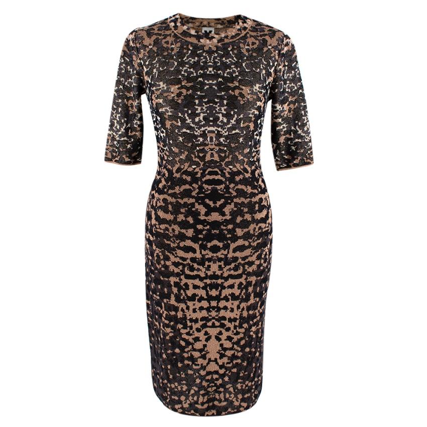 M Missoni Black & Cream Pixelized Camo Short Sleeve Knit Dress