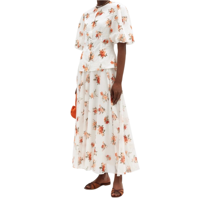 Emilia Wickstead Current Season Floral Print Puff Sleeve Serena Top