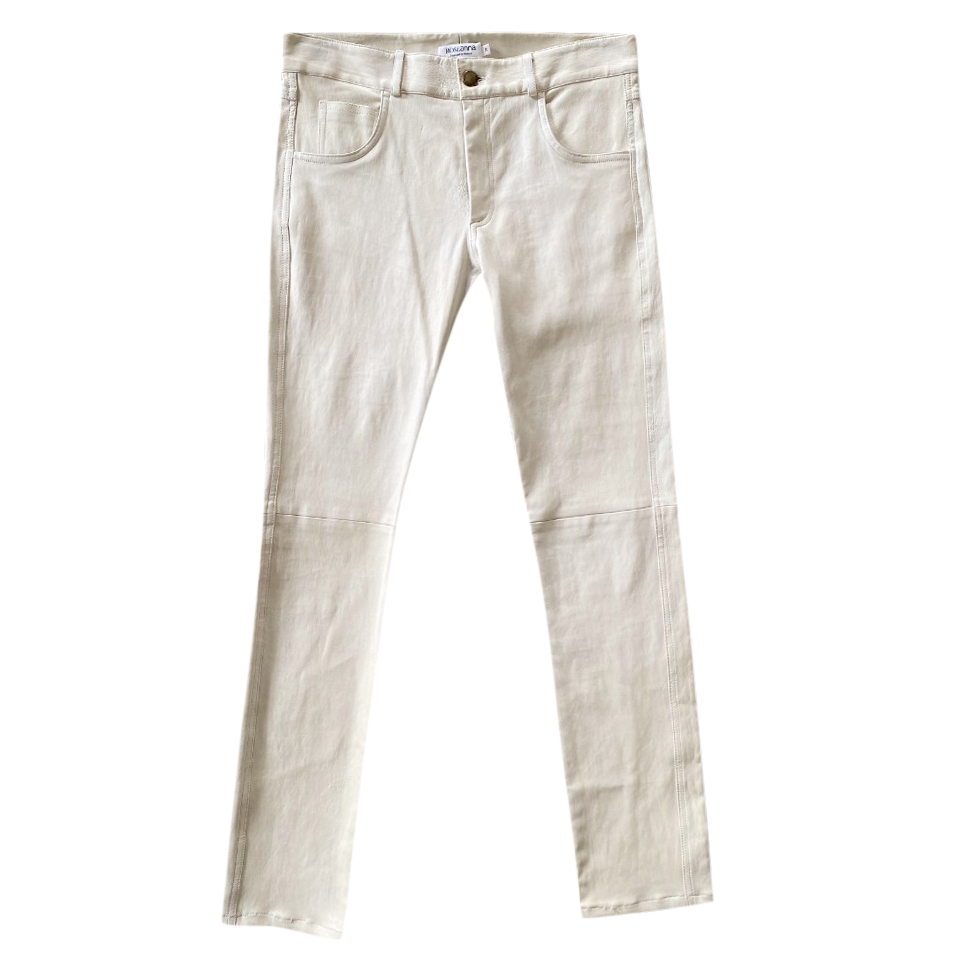 Roseanna Cream Straight Leg Leather Pants