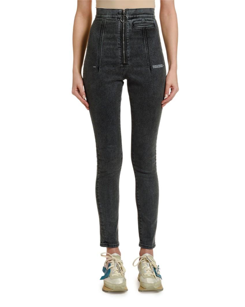 Off-White Ring-Zip Skinny Jeans.
