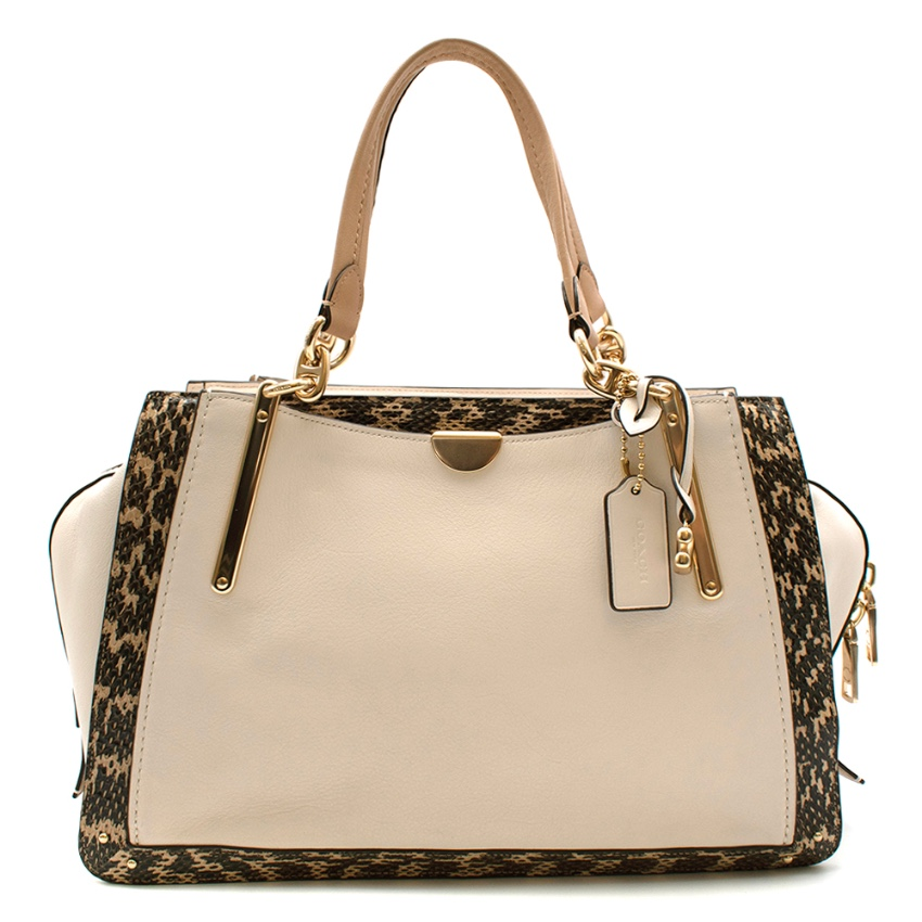 Coach Cream Snakeskin Trimmed Leather Shoulder Bag