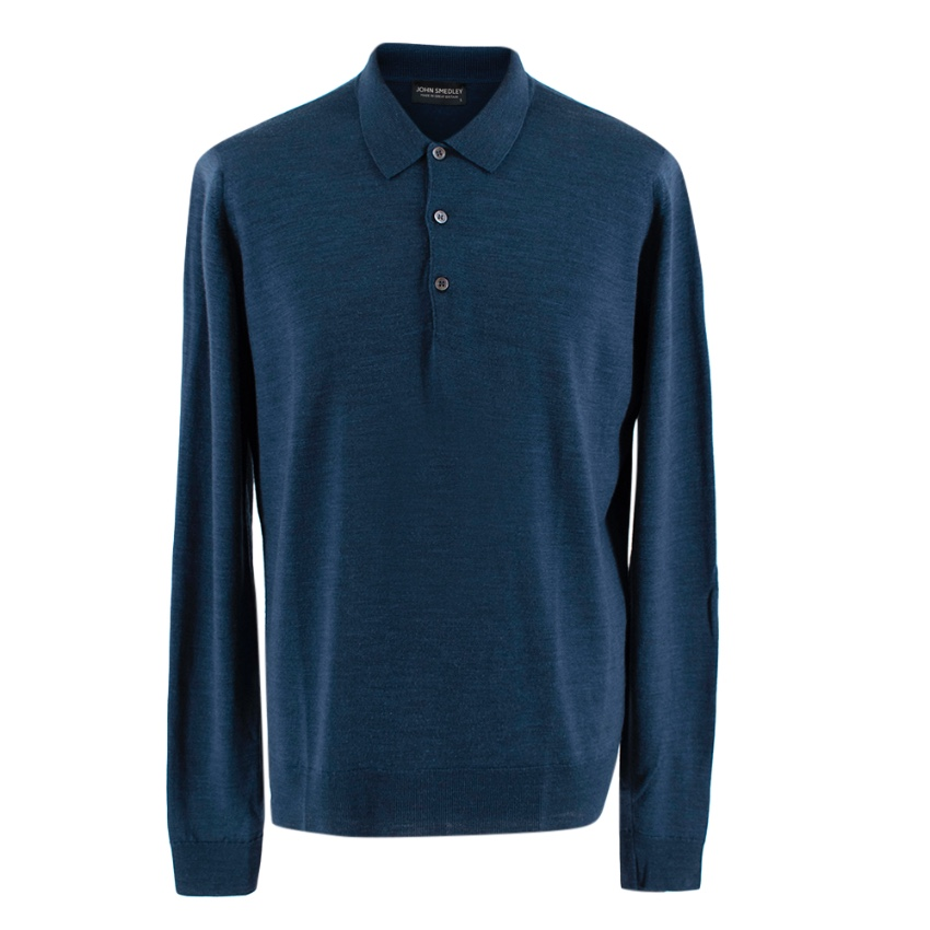 John Smedley Blue Long Sleeve Polo Shirt