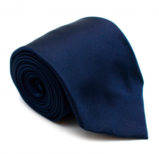 Dunhill Navy Silk Tie with Crest Embroidery