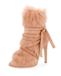 Gianvito Rossi Tan Suede Moritz Shearling-Trim Heeled Ankle Boots