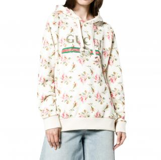 Gucci Ivory Rose Print Fake Logo Distressed Hoodie