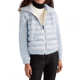 Moncler Grenoble Blue Oversized Quilted and Knit Cardigan