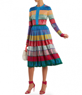 Mary Katrantzou Cecile Striped Woolknit Midi Dress