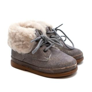 Pom D'Api Grey Boots with Shearling Lining