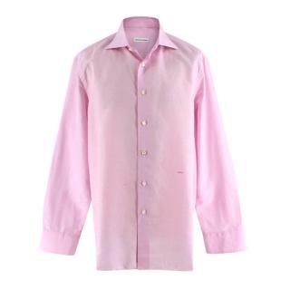 Donato Liguori Light Pink Linen Bespoke Tailored Shirt
