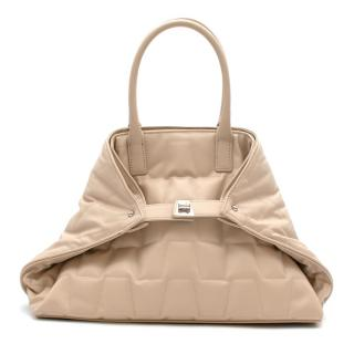 Akris Small Convertible Quilted Leather AI Tote in Stucco