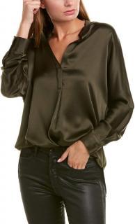 Vince Khaki Satin Dolman round neck blouse