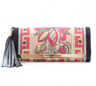 Pucci Leather Trimmed Printed Satin Tassel Clutch