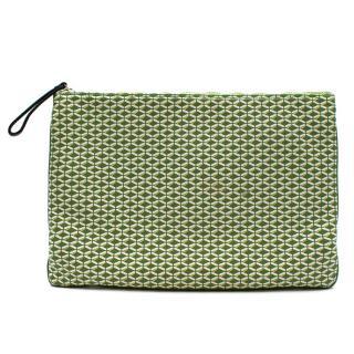 Jaime Beriestain Greeen Geometric Pattern Leather Pouch Bag