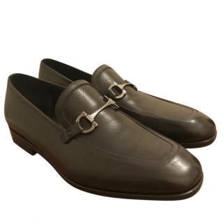 Salvatore Ferragamo Black Perforated Leather Loafers