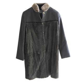 Sportmax Goat Fur Trim Virgin Wool Coat