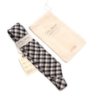 Otis James Hand Crafted Black Gingham Linen Tie