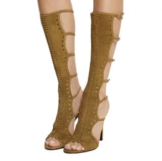 Tamara Mellon Brown Suede Cut-out Open Toe Sandal Boots