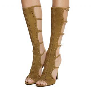Tamara Mellon Brown Suede Cut-out Open Toe Sandal Boots