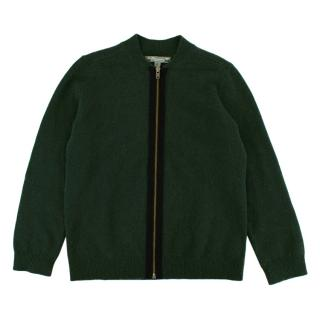 Bonpoint Green Cashmere Zipped Cardigan