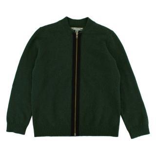 Bonpoint Green Cashmere Zipped Cardigan