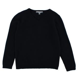 Bonpoint Navy V Neck Cashmere Sweater