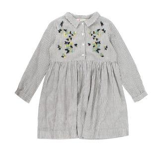 Bonpoint Embroidered Cotton Long-sleeve Check Dress