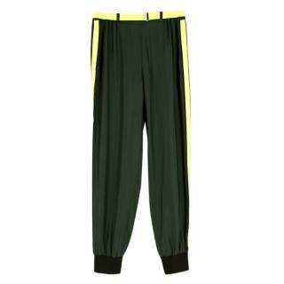 Robert Rodriguez Green Silk Joggers with Neon Belt