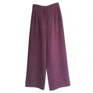 Chanel Boutique Tweed Vintage Wide Leg Pants